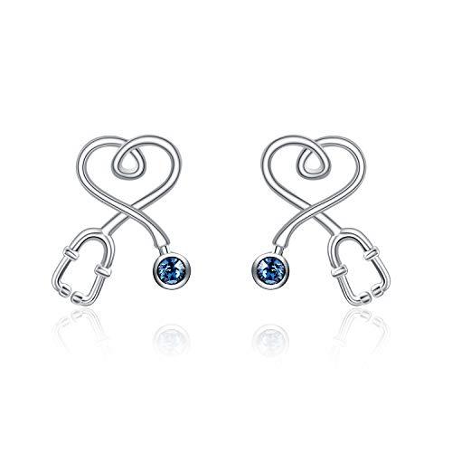 AOBOCO Nurse Earrings Stud Sterling Silver Stethoscope Earrings with Blue Crystal,Fine Jewelry Gift for Nurse Doctor