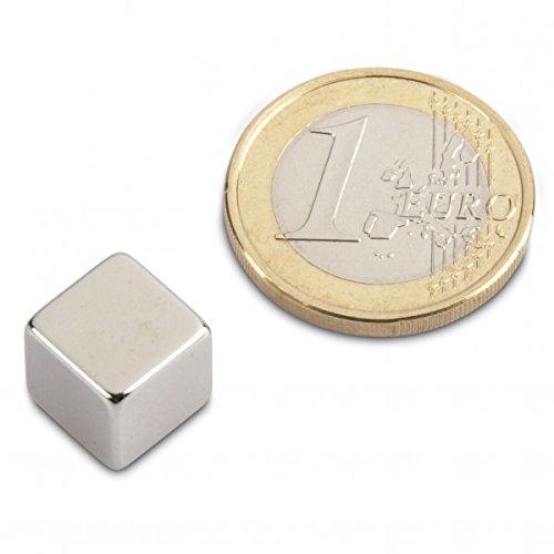 Würfelmagnet 10,0 x 10,0 x 10,0 mm N42 Nickel - hält 7 kg, Neodym NdFeB Supermagnet Magnetwürfel 10 mm