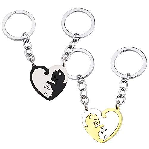 Amantes Corazón Llavero CHEPL 2 Llaveros Para Parejas Gatos Llaveros de Corazón Personalizados Diseño de Gato Llavero del Amor o la Amistad, Regalo para él y Ella