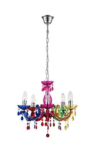 Kronleuchter 5 flammig Esszimmer Lampe Hängeleuchte Hängelampe Pendelleuchte Kristalle bunt (Luster, Pendellampe, Deckenlampe, Deckenleuchte, Esstisch Leuchte, 44 cm, Höhe 128 cm, Fassung 5 x E14)