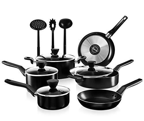 NutriChef 13-Piece Nonstick Cookware PTFE/PFOA/PFOS Free Heat Resistant Kitchen Ware Set w/Saucepan, Frying Pans, Cooking Pots, Casserole, Lids, Ladle, Fork, Strainer NCCWA13, Black