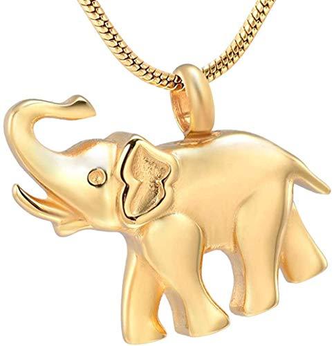 Collar Para Cenizas Memorial Lindo Elefante Recuerdo Urna Colgante Collar Ceniza Collar Funeral 1Pcs Oro