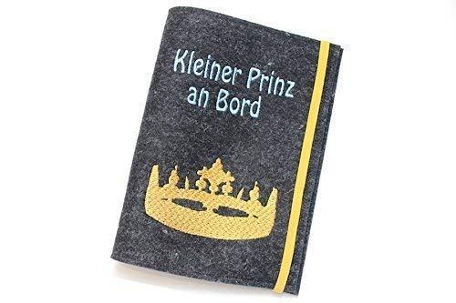 Sonderpreis - Mutterpasshülle aus anthrazitfarbenem Wollfilz bestickt mit Kleiner Prinz an Bord + Krone
