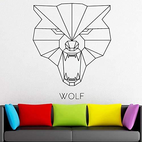 Usmnxo 54x57 cm Cabeza de Lobo geométrica calcomanía Origami Vinilo Pegatina decoración de la Pared decoración de Moda decoración de Uso Interior o Exterior