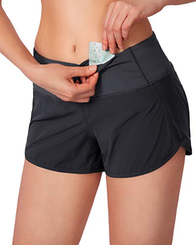 G Gradual Women's Running Shorts with Mesh Liner 3' Workout Athletic Shorts for Women with Phone Pockets (Grey, Medium)