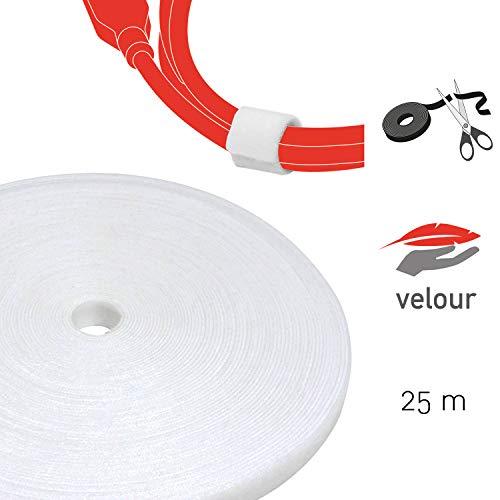 Label-the-cable Klettbandrolle doppelseitig (Haken & Flausch), Klettkabelbinder zuschneidbar, Velours-Qualität, geeignet als Kabelbinder, Klettband/ LTC ROLL STRAP, 25 m x 16 mm, Weiß, PRO 1220