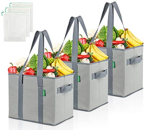 COTTARA Premium Einkaufstasche faltbar groß 3er Pack – Stabiler wiederverwendbarer Einkaufskorb mit faltbarem verstärktem Boden inkl. 3 Obst- & Gemüsenetze – 38 x 23 x 31 cm Grau