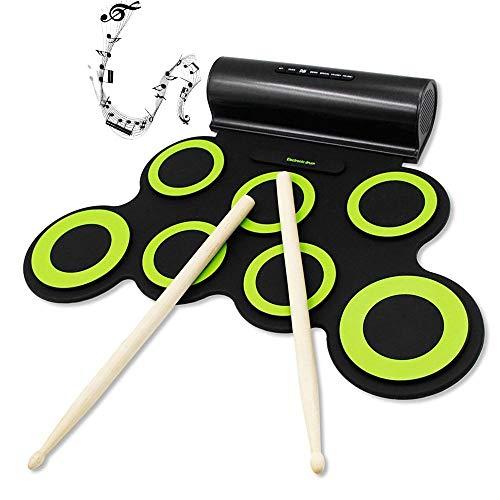 Set de batería electrónica enrollable para batería de tamaño mediano con auriculares Jack Built-in Speaker Drum Sticks, Great Holiday Christmas Birthday Gift for Kids (Green)
