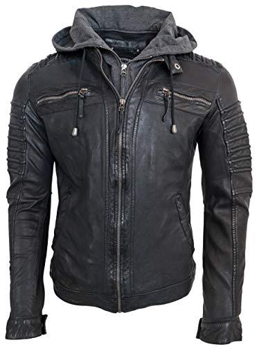 RICANO 12815 Hood, Herren Lederjacke mit abtrennbarer Kapuze, aus echtem Lamm Nappa Leder (Glattleder) in schwarz oder Kupfer braun (Schwarz, L)