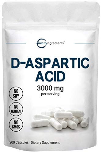 Micro Ingredients D Aspartic Acid Pills, DAA Supplement, 3000mg Per Serving, 300 Capsules, Boost Muscle Development and Recovery, Non-GMO