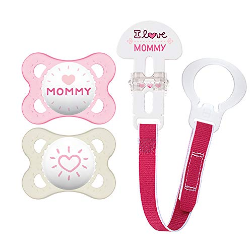 "MAM Pacifier and MAM Pacifier Clip Value Pack (2 Pacifiers & 1 Clip), Pacifiers 0-6 Months for Baby Girl, Baby Pacifiers ""I Love Mommy"" Design, Baby Pacifier Clips, Designs May Vary"