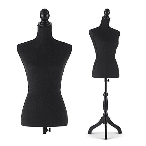 """Festnight Manichino Sartoriale Donna   Busto Sartoriale Donna con Legno Treppiede Stand Pinnable Dimensioni 34""""26"""" 35"""" Nero"""