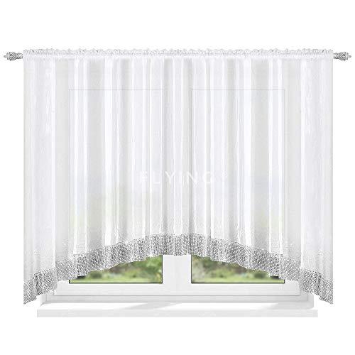 TOP Fertig-Gardine aus Voile NEU Top Design Set Schöne Wohnzimmer Küche-Gardine mit Kräuselband und Zirkonia 150 x 300 cm LB-223 (150 x 300 cm)