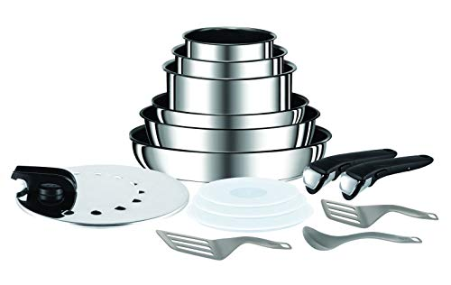 Tefal - Juego de 15 piezas, de aluminio, sartenes de 22, 24 y 26 cm, cazos de 16, 18 y 20 cm, 3 tapas , 1 tapas inox, 2 espátulas y 2 mangos intercambiables