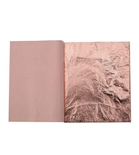 Kinxor 100 Blatt Blatt-Imitat für Kunst, Vergoldung, Basteln, Möbeldekoration, 14 x 14 cm (Roségold)