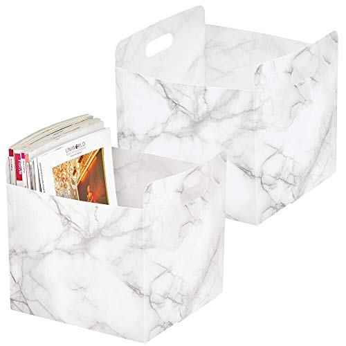 mDesign Plastic Storage Organizer, Holder Bin Box with Handles - for Cube Furniture Shelving Organization for Closet, Kid's Bedroom, Bathroom, Home Office, 2 Pack - Marble Print