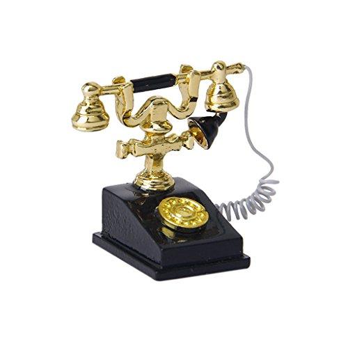 SODIAL(R) 1/12 Maison de Poupee Miniature Retro Telephone Noir Vintage