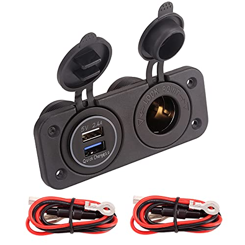10L0L 12V Dual USB Quick Charger Socket, Cigarette Lighter Power Outlet Panel for EZGO Club Car Yamaha Golf Cart, Boat, RV, Truck