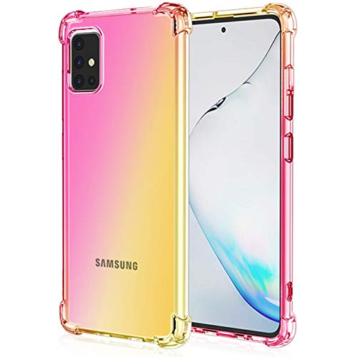 Osophter for Galaxy A71 5G Case Clear[NOT for Verizon A71 5G UW] Transparent Reinforced Corners TPU Shock-Absorption Flexible Cell Phone Cover for Samsung Galaxy A71 5G(Pink Gold)