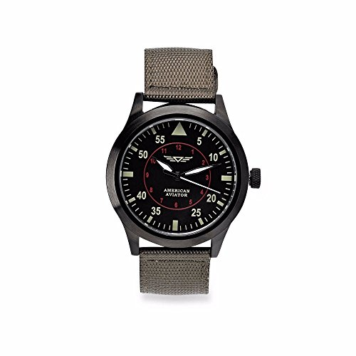 American Aviator ASOTV Men's Quartz Metal and Nylon Casual Watch Green Band