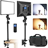 IVISII LED Video Light with C-Clamp Stand, Dimmable Bi-Color 3000K-8000K Panel Light with Wireless Remote, Video Lighting Kit for Photography, Studio Shot, Interview, Live Streaming,YouTube Game Video