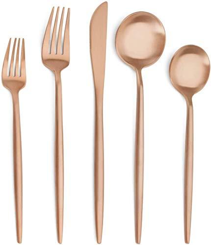 XIZHOUCUN Matte Rose Gold Silver Set, 20-Piece rostfritt stål bestick Set, Satin Finish Bestick service för 4, Hållbara husgeråd Inkludera knivar/gafflar/skedar, diskas i maskin porslin