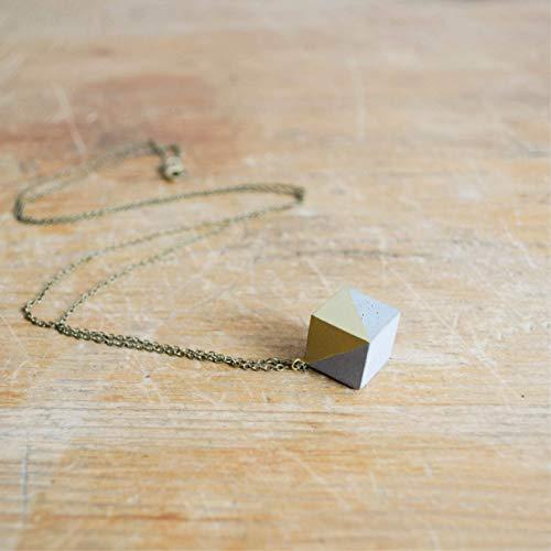BETONKETTE WÜRFEL GOLD, Betonanhänger an Messingkette, grauer/weißer oder schwarzer Beton mit GOLDENEM Lack, schlicht, elegant, Designerkette, minimalistisch