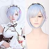 Creamily Blue Short Bob Rem Cosplay Peluca Anime sintético Hair Party Peluca Zero Comenzando la vida en otro mundo