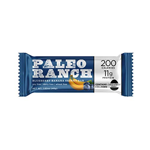 PALEO RANCH Protein Skinny Bar, Cage-Free Egg White Protein, Grass-Fed Beef Collagen, Gluten Free, Soy Free, 1.62 Ounce, Blueberry Banana, 9-count Protein Bars