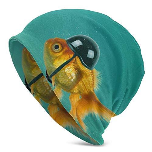 Gorros Unisex Beanie Goldfish con Casco Divertido Bicicleta de Carreras Sombrero de...