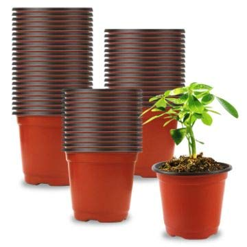 "Augshy 150 Pcs 4"" Plastic Plants Nursery Pot,Seed Starting Pots"