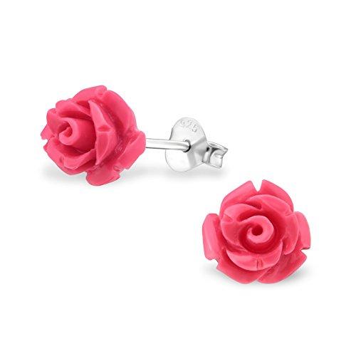 Monkimau Mädchen Ohrringe Rose Ohrstecker aus 925 Sterling Silver echt Silber mit Synthetischer Rosenblüte (pink)