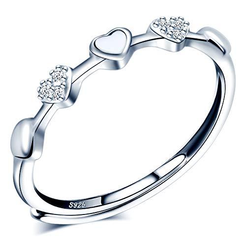 CPSLOVE Anillo de mujer niña, anillo de plata 925, Anillos corazón Fritillary Blanco, anillo abierto, tamaño ajustable, anillo de bodas, de compromiso, Circunferencia de dedo adecuada:48,5-57mm