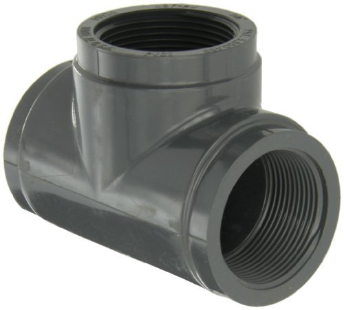 GF Piping Systems PVC Pipe Fitting, Tee, Schedule 80, Gray, 1-1/2 NPT Female by GF Piping Systems