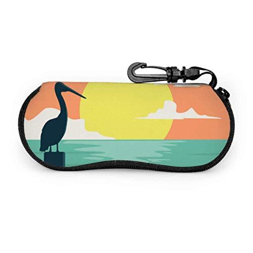 Estuche de gafas, Tropical Sunset Surf And Beach Vintage Beach Vector Gafas de sol Estuche blando Estuche de anteojos con cremallera de neopreno ultra ligero con mosquetón, Estuche para gafas de sol