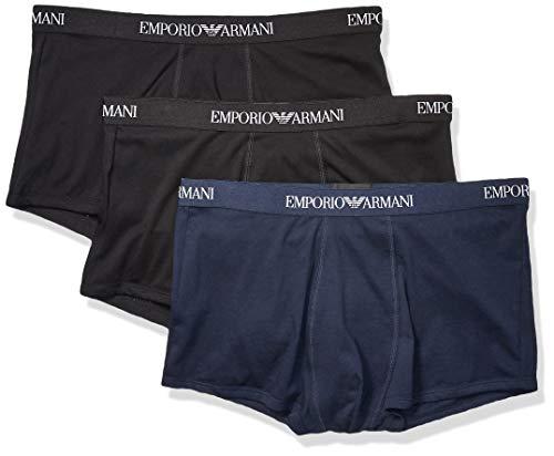 Emporio Armani – Pack de 3 Calzoncillos de algodón para Hombre, Azul Marino/Negro/Negro, Large
