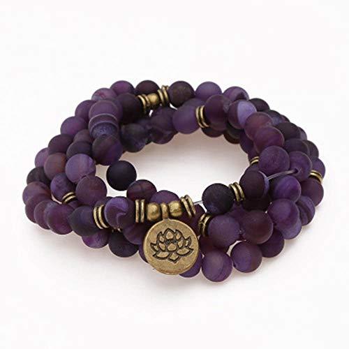 Pulsera de ágata Violeta - 108 Mala Cuentas Collar de Yoga Budista Rosario Oración Charm Bracelet - Colgante de Loto Yoga Pulsera