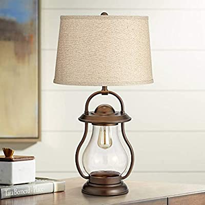 Fredrik Rustic Industrial Farmhouse Table Lamp with Nightlight Antique Edison Style LED Bronze Lantern Burlap Tapered Drum Shade for Living Room Bedroom Nightstand Office - Franklin Iron Works