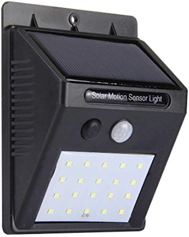 Fealliancement Led light GuoBo LED-Licht Weilicht Outdoor Solar Bewegungsmelder Licht, 20 LED für Hof Garten Haus Einfahrt Treppe Auenwand (Schwarz) (Farbe   schwarz)