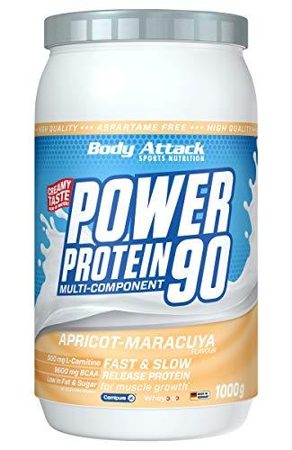 Body Attack Power Protein 90, 5K Eiweißpulver mit Whey-Protein, L-Carnitin und BCAA für Muskelaufbau und Fitness, Made in Germany (Apricot-Maracuya Cream, 1 kg)