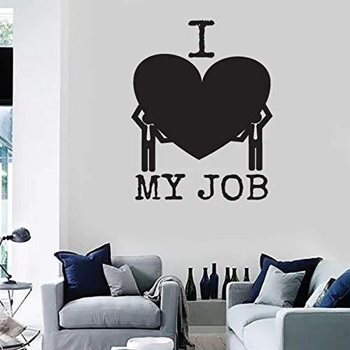 HFDHFH Amo mi Trabajo, calcomanía de Pared, Mensaje Divertido, decoración de Interiores de Oficina, Vinilo, Pegatina para Ventana, Amor, corazón, Arte Inspirador, Mural C