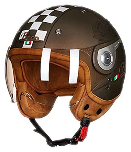 Casco Abierto para Motocicleta para Adultos, Casco Retro Harley 3/4 Medio Casco para Casco De Piloto De Carreras De Motos, Gorra para Ciclomotor De Motocross De Crucero (Color : 01, Size : M)