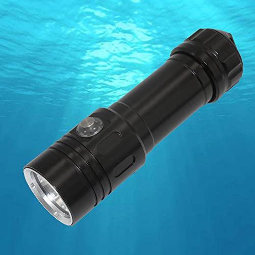 Linterna de Buceo, Luz de Buceo de 2000 Lúmenes, 4 Modos, Luces Sumergibles de 100 Metros, Linterna Subacuática Impermeable IP68 con 2x 18650 Batería y Cargador