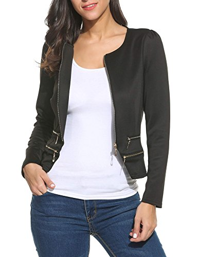 ThinIce Women's Casual Collarless Cardigan Office Blazer Zipper Work Jacket