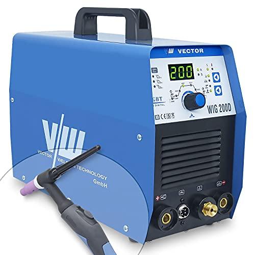 Máquina de soldadura Tig con 200 amperios y función de soldadura por electrodo de 170 amperios   Función de pulso - preflujo y postflujo de gas - subida y bajada de corriente de Vector Welding