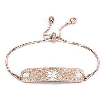 Personalized Rose Gold Medical Alert ID Bracelets for Women Custom Adjustable Chain Emergency Health Awareness Bracelet for Girls 5-8.8 inch