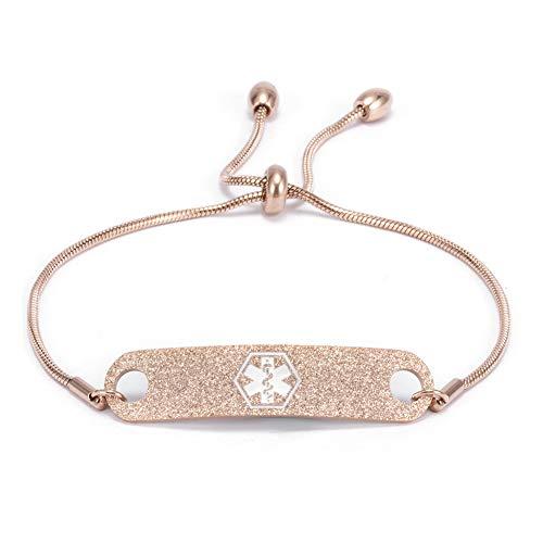 Personalized Rose Gold Medical Alert ID Bracelets for Women Custom Adjustable Chain Emergency Health Awareness Bracelet for Girls, 5-8.8 inch