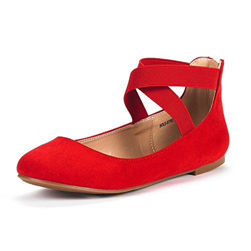 DREAM PAIRS Women's Sole_Stretchy Red Fashion Elastic Ankle Straps Flats Shoes Size 11 M US