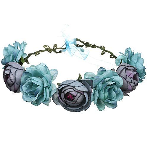 YAZILIND Rose Blume Kopfschmuck Handmade Haarschmuck Festival Stirnband Brautkleid Zubehör Blau
