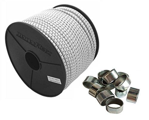 10mm Expanderseil 20m Gummiseil + 10 Würgeklemmen Gummileine Planenseil Seil Plane in Weiss Schwarz